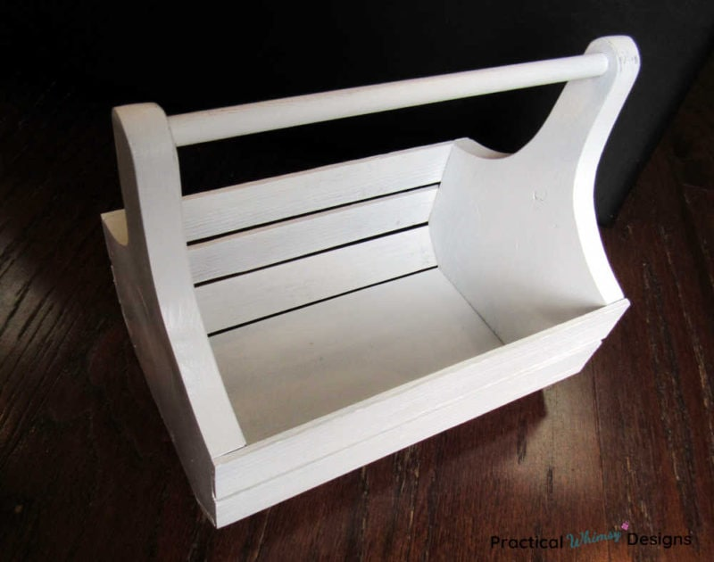 Wooden caddy painted white