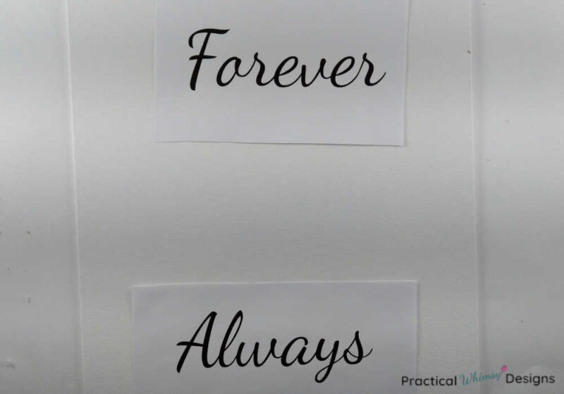 Printed words forever and always set on canvas.