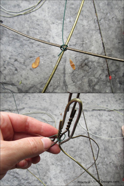 Wrapping wreath wire around hanger frames