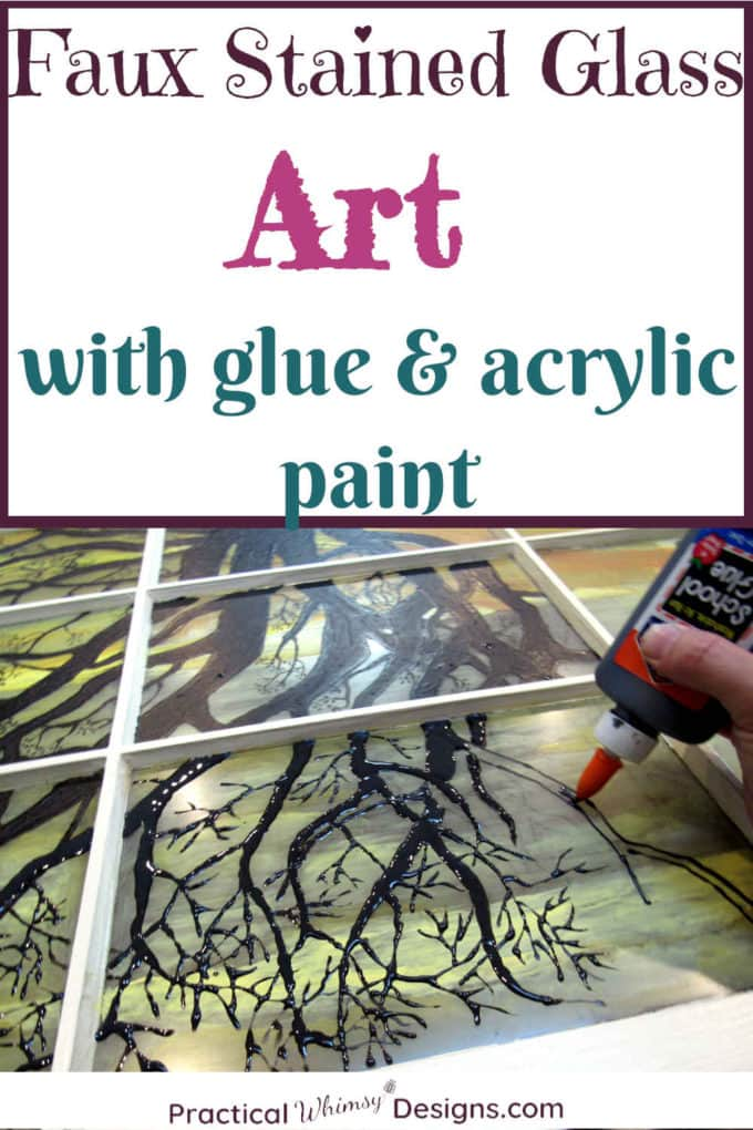 Faux stained glass window art with glue and acrylic paint